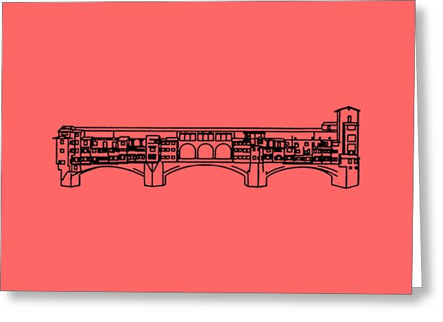 Florence Greeting Cards - Ponte Vecchio Florence Tee Greeting Card by Edward Fielding