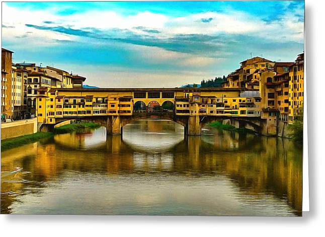 Historic Site Greeting Cards - Ponte Vecchio Greeting Card by Jean-Marc Lacombe