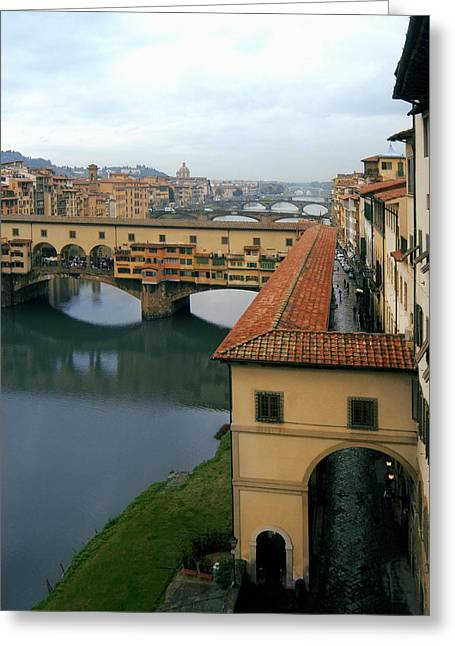 Italian Shopping Photographs Greeting Cards - Ponte Vecchio Greeting Card by Traveler Scout