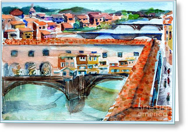 Ponte Vecchio Greeting Card by Mindy Newman