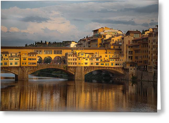 Arno Greeting Cards - Ponte Vecchio reflection Greeting Card by Chris Fletcher