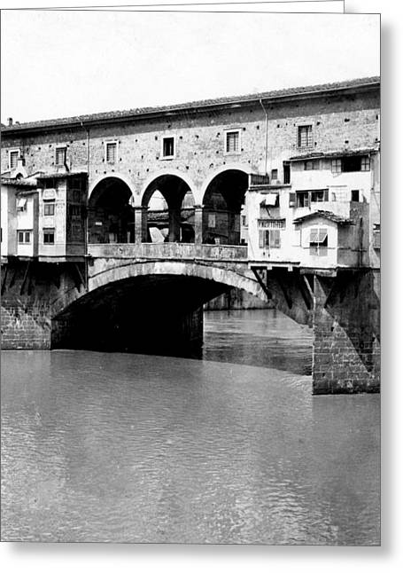 White River Scene Greeting Cards - Ponte Vicchio Bridge in Florence Italy - c 1905 Greeting Card by International  Images