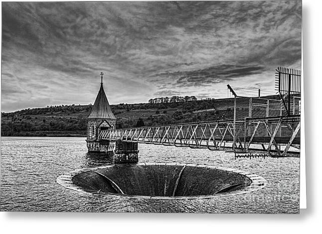 Pontsticill Reservoir Valve Tower Mono Greeting Card by Steve Purnell