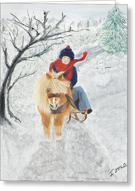 Atlantis Pastels Greeting Cards - Pony Express Greeting Card by Ione Citrin