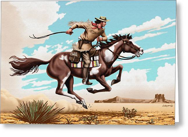 Pony Express Rider Historical Americana Painting Desert Scene Greeting Card by Walt Curlee