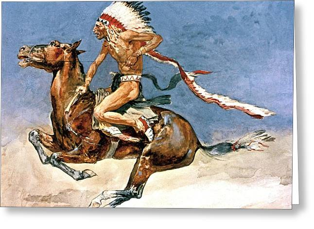 Pony War Dance Greeting Card by Frederic Remington