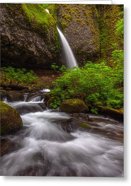 Rushing Water Greeting Cards - Ponytail Falls Greeting Card by Darren  White
