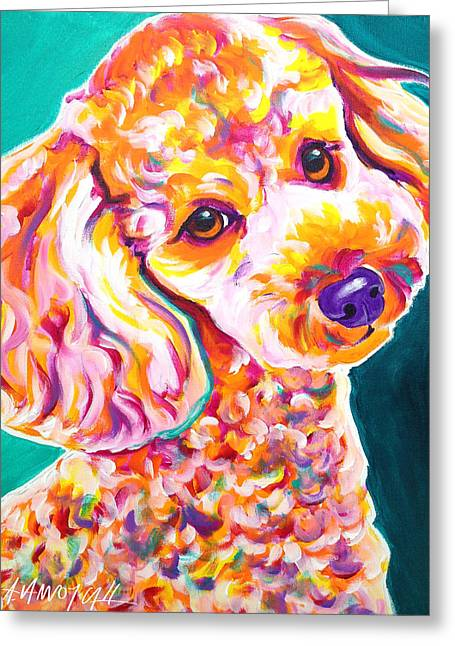 Poodle - Curly Greeting Card by Alicia VanNoy Call