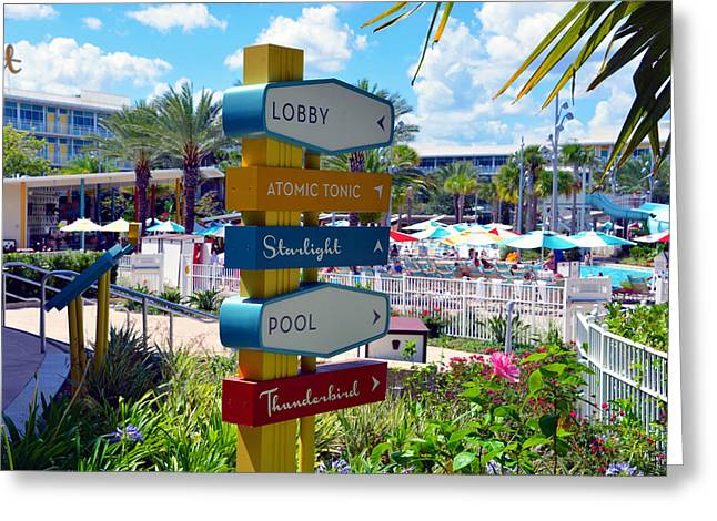 Cabana Greeting Cards - Pool area at the Cabana Greeting Card by David Lee Thompson