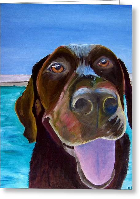 Chocolate Lab Greeting Cards - Pool Boy Greeting Card by Roger Wedegis