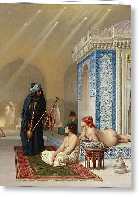 Pool In A Harem Greeting Card by Jean Leon Gerome
