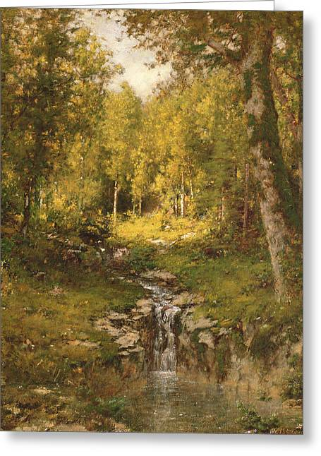 Pool In The Woods Greeting Card by Alexander Helwig  Wyant
