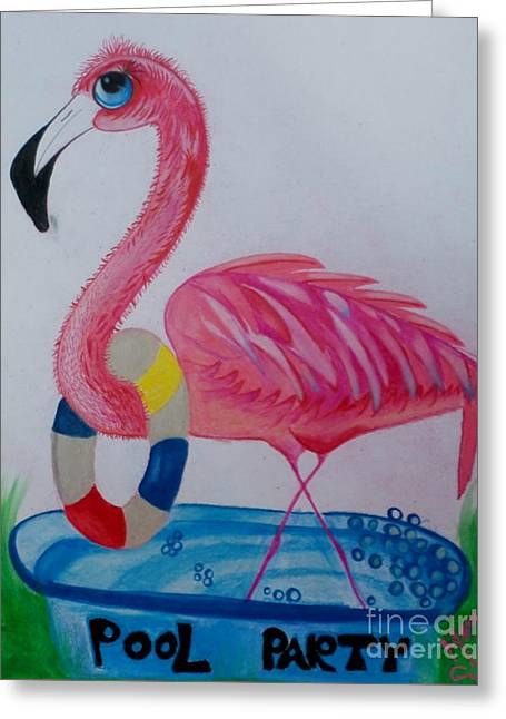 Pool Party Greeting Card by Mary Sisson