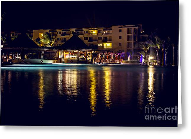 Beach At Night Greeting Cards - Pool Party Night Greeting Card by Alanna DPhoto