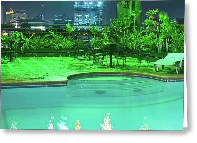 Mango Greeting Cards - Pool with City Lights Greeting Card by James BO  Insogna