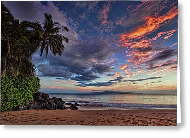 ; Maui Greeting Cards - Poolenalena Sunset Greeting Card by James Roemmling