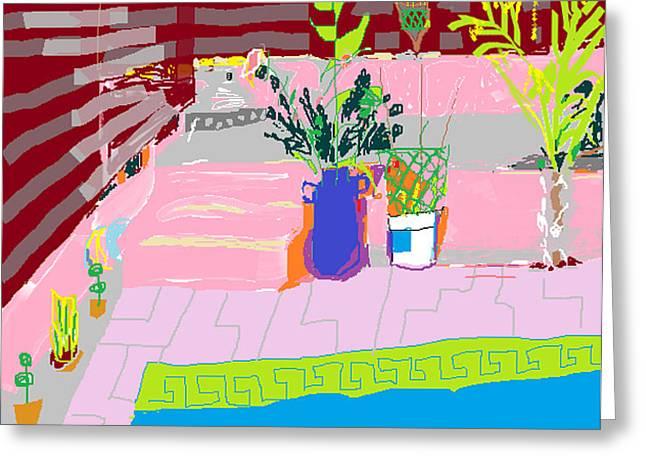 Garden Scene Digital Greeting Cards - Poolside Greeting Card by Anita Dale Livaditis