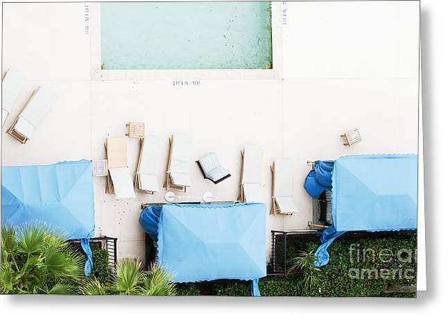 Beach Decor Digital Art Greeting Cards - Poolside Dreams - Blue Serenity Photography Greeting Card by Anahi DeCanio - ArtyZen Studios