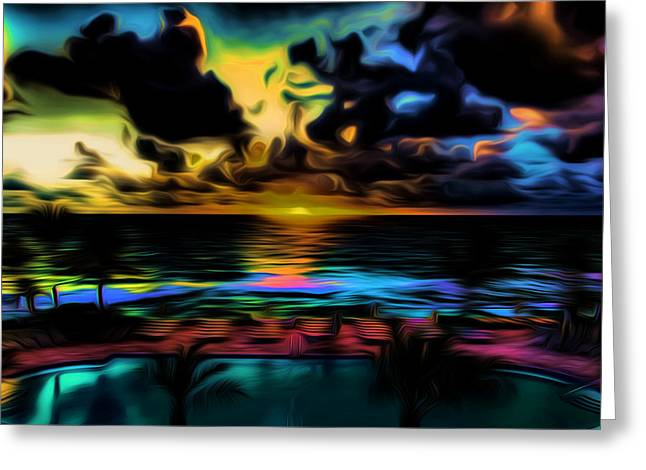 Ocean Landscape Greeting Cards - Poolside View Greeting Card by Ron Fleishman