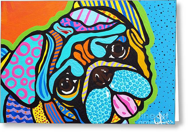 Lucky Dogs Paintings Greeting Cards - Pooped Pug Greeting Card by Jackie Carpenter