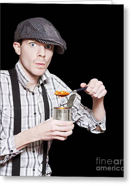 Spooning Greeting Cards - Poor Peasant Boy Eating Food From Can Over Black Greeting Card by Ryan Jorgensen
