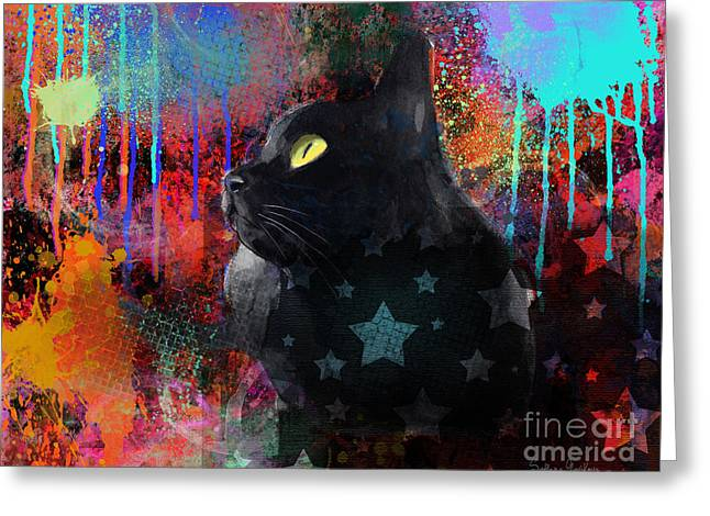 Whimsical Mixed Media Greeting Cards - Pop Art Black Cat painting print Greeting Card by Svetlana Novikova