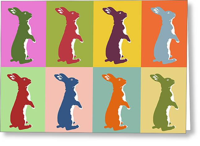 Abstract Digital Art Greeting Cards - Pop art bunnies Greeting Card by Mihaela Pater