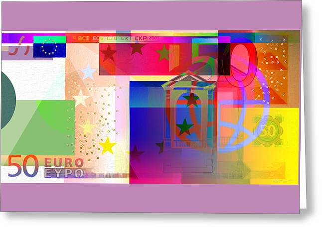 Pop-art Colorized Fifty Euro Bill Greeting Card by Serge Averbukh