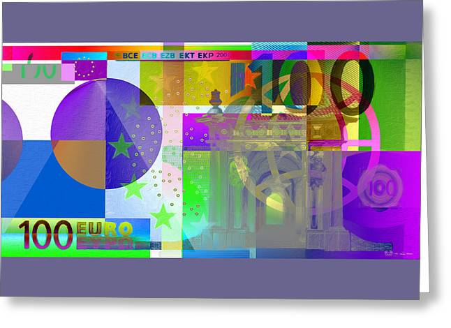 Pop-art Colorized One Hundred Euro Bill Greeting Card by Serge Averbukh