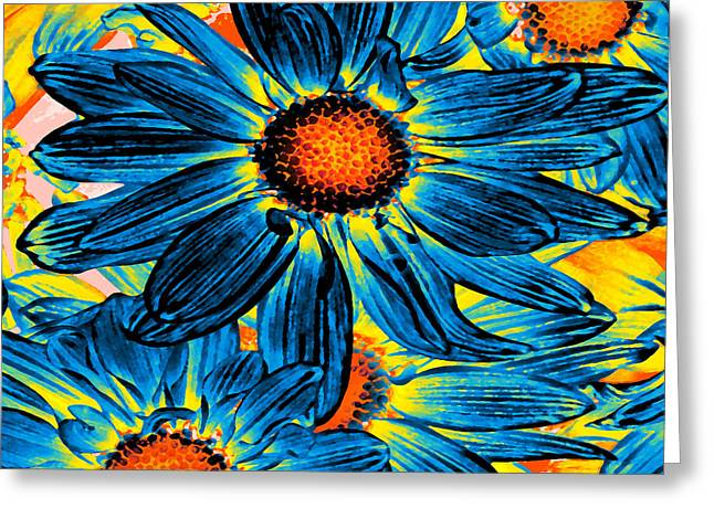 Entryway Greeting Cards - Pop Art Daisies 11 Square Greeting Card by Amy Vangsgard
