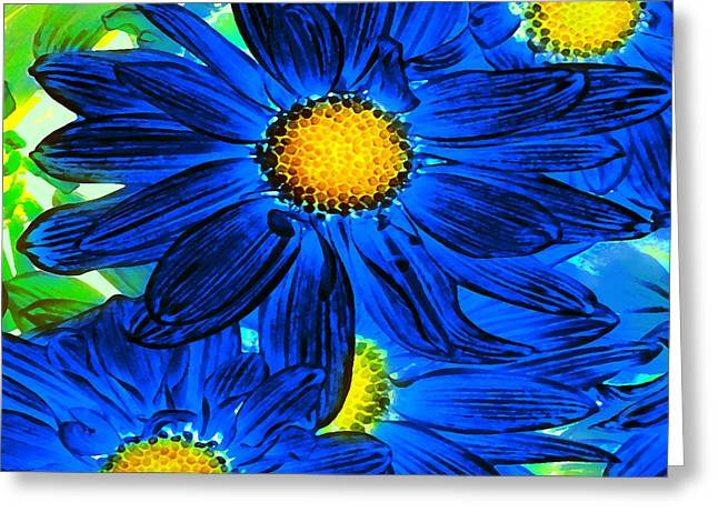 Entryway Greeting Cards - Pop Art Daisies 15 Square Greeting Card by Amy Vangsgard