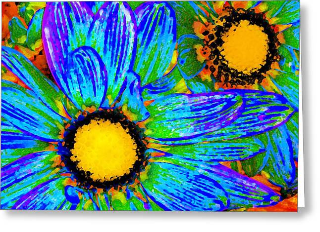 Dinning Room Greeting Cards - Pop Art Daisies 4 Greeting Card by Amy Vangsgard