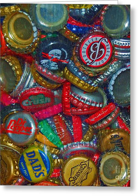 Bottle Cap Greeting Cards - Pop Art Greeting Card by Debbi Granruth