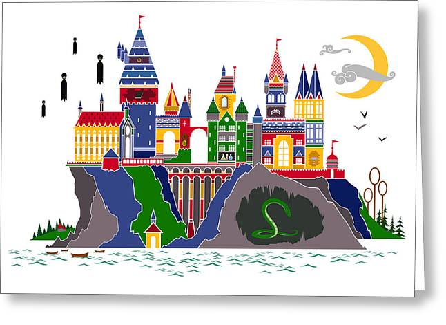 Pop Art Hogwarts Greeting Card by Christopher Ables