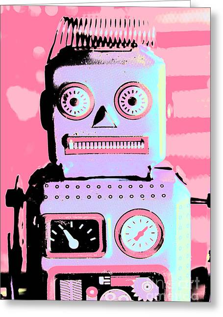 Pop Art Poster Robot Greeting Card by Jorgo Photography - Wall Art Gallery