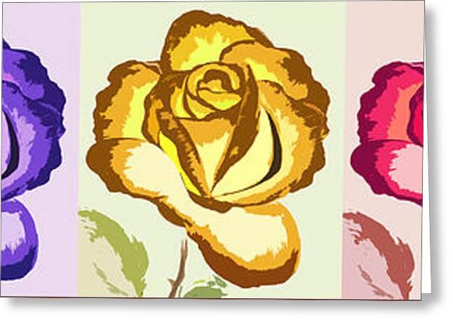 Floral Digital Art Digital Art Greeting Cards - Pop Art Roses - Horizontal Greeting Card by Gina De Gorna