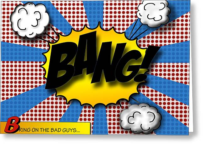 Batman Greeting Cards - Pop BANG Greeting Card by Suzanne Barber