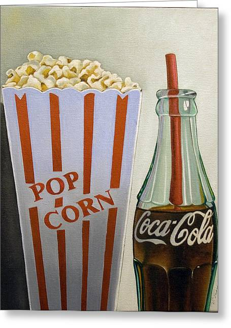 Popcorn And Coke Greeting Card by Vic Vicini