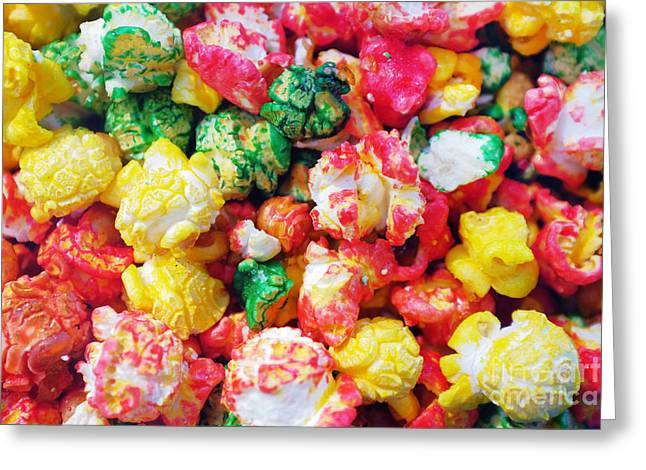 Sugary Greeting Cards - Popcorn Background Greeting Card by Carlos Caetano