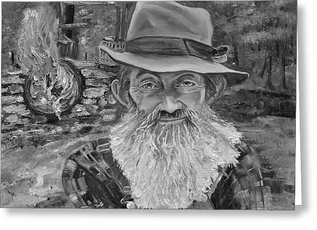 Sutton Paintings Greeting Cards - Popcorn Sutton - Black and White - Rocket Fuel Greeting Card by Jan Dappen