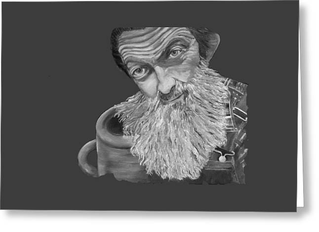 Popcorn Sutton Black And White Transparent - T-shirts Greeting Card by Jan Dappen