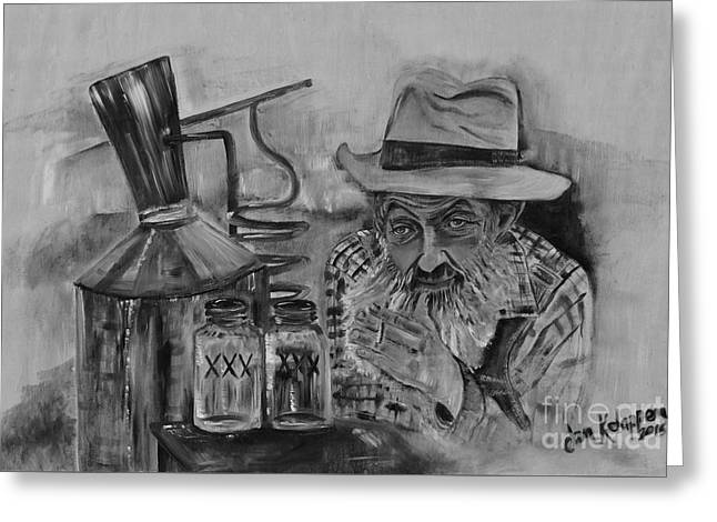 Popcorn Sutton - Black And White - Waiting On Shine Greeting Card by Jan Dappen