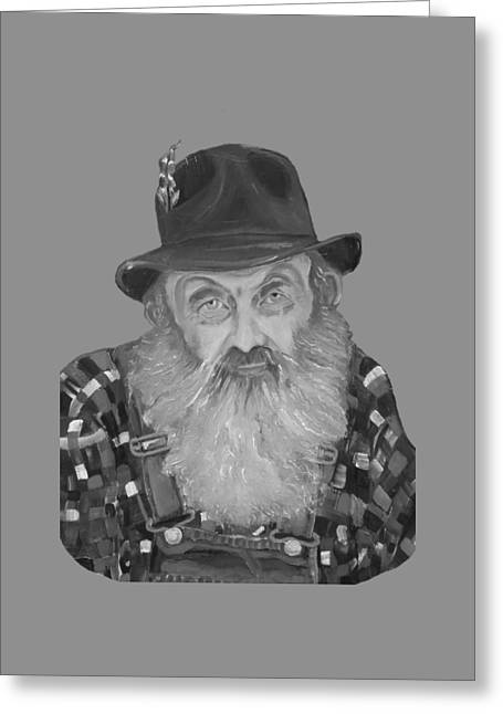 Popcorn Sutton Moonshiner Bust - T-shirt Transparent B And  W Greeting Card by Jan Dappen