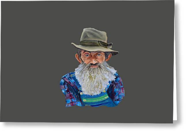 Sutton Paintings Greeting Cards - Popcorn Sutton Rocket Fuel- Transparent for T-Shirt Greeting Card by Jan Dappen