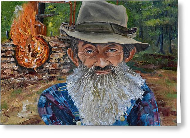 Sutton Paintings Greeting Cards - Popcorn Sutton - Rocket Fuel -White Whiskey Greeting Card by Jan Dappen