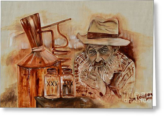 Sutton Paintings Greeting Cards - Popcorn Sutton - Waiting on Shine Greeting Card by Jan Dappen