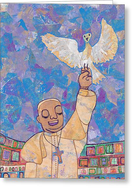 Francis Greeting Cards - Pope Francis and the Dove  Greeting Card by Carol Cole