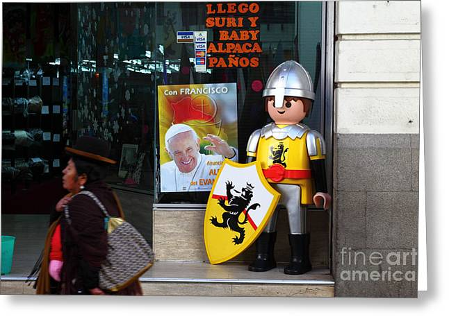 Toy Shop Greeting Cards - Pope Francis Visits Bolivia Greeting Card by James Brunker