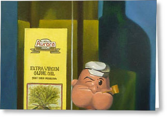 Popeye and Olive Oil Greeting Card by Judy Sherman