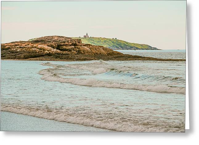 Maine Beach Greeting Cards - Popham Surf Greeting Card by Laurie Breton